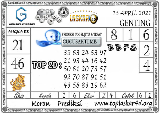 Prediksi GENTING DRAWING LASKAR4D 15 APRIL 2021