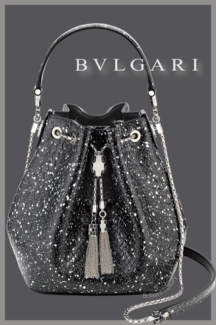 Bvlgari Serpenti Forever bucket bag in black and white cosmic python skin and black nappa inner lining #brilliantluxury