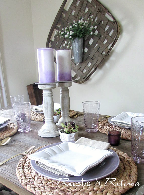 Tablescape with purple dishes