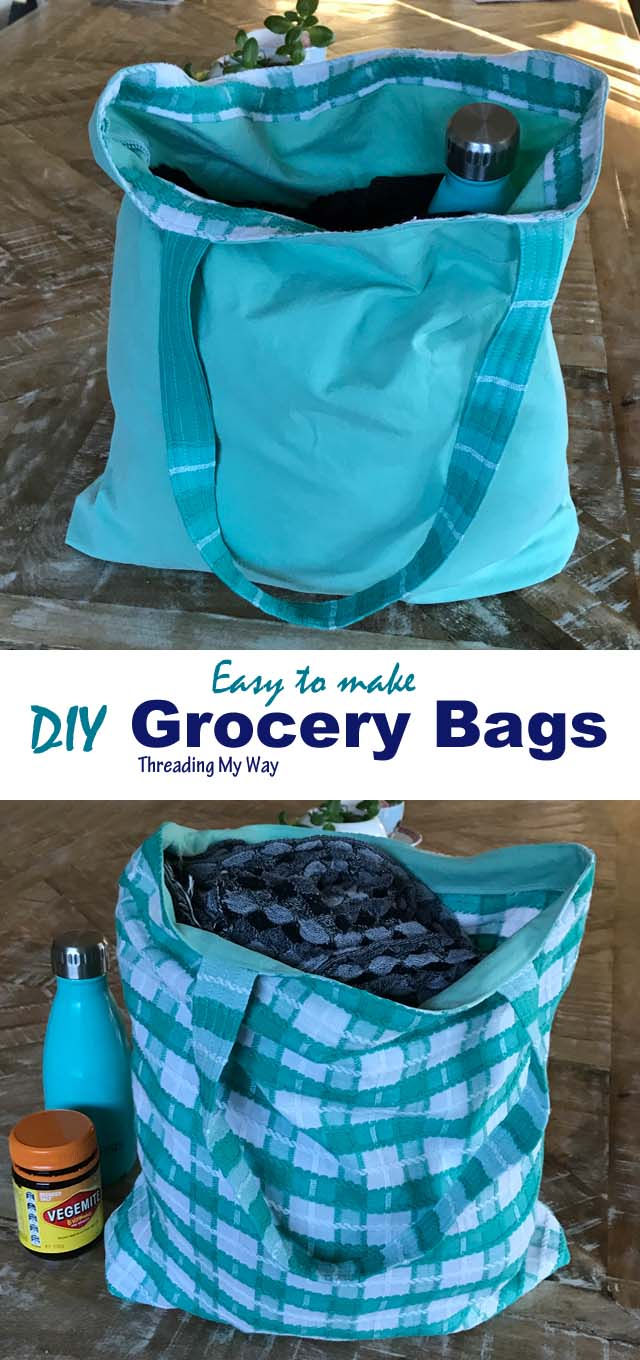 Easy to make unlined, reusable fabric tote bag ~ Tutorial by Threading My Way