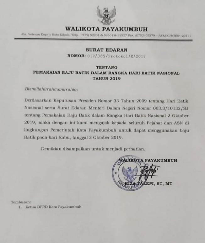 Hari Ini Jajaran Pemko Payakumbuh Memakai Batik Impiannews
