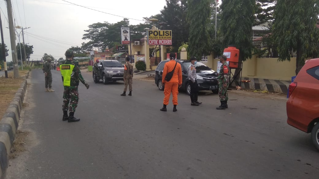 Gugus Tugas percepatan Penyebaran virus (Covid-19),melakukan pengamanan di pos perbatasan wilayah Kota Bandar Lampung
