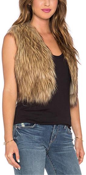 Brown Faux Fur Vest Gilet For Women