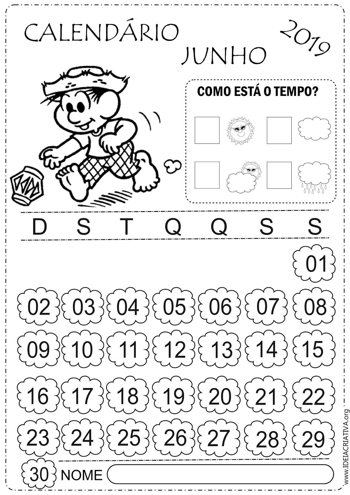 Calendarios Junho 2019 Turma Da Monica Para Colorir E Imprimir