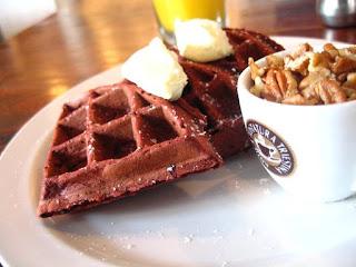 Valentine, Valentine's Day, waffle, red velvet, eating fabulously, nuts