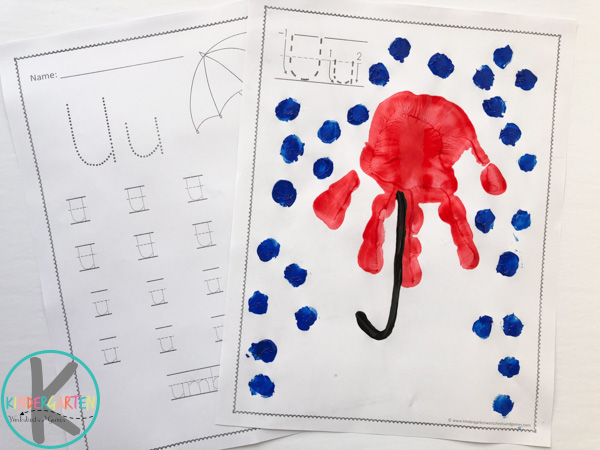 letter U handprint art and letter u worksheets for kids