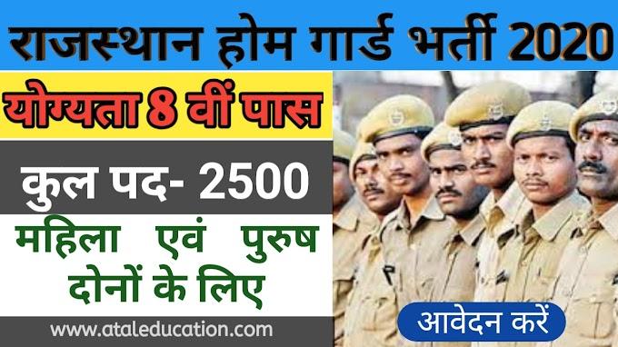 This Week's Top job Rajasthan Home Guard Recruitment 2020