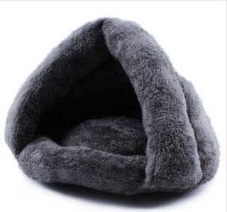 Cat Bed Soft Pet House Small Dogs Sleeping Thick Kennel - Gray