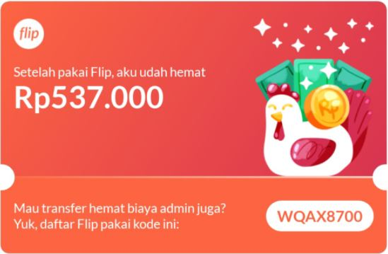 Flip gratis biaya admin