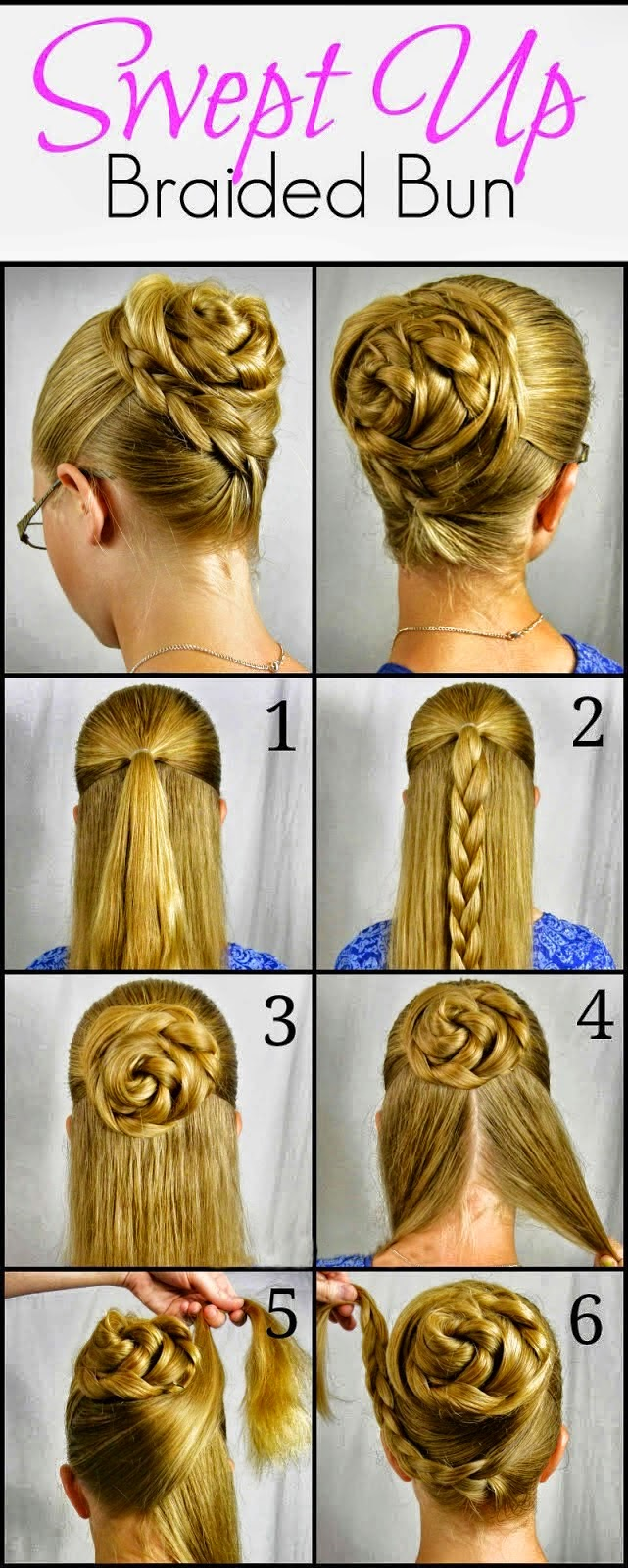 swept up rose braid bun hairstyle step by step - beauty and