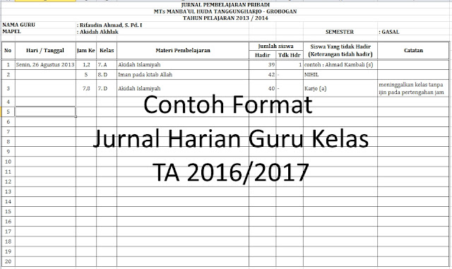 Format Jurnal Harian Guru Kelas, Contoh Format Jurnal Guru Kelas, Contoh Format Jurnal Guru Kelas TA 2016/2017,