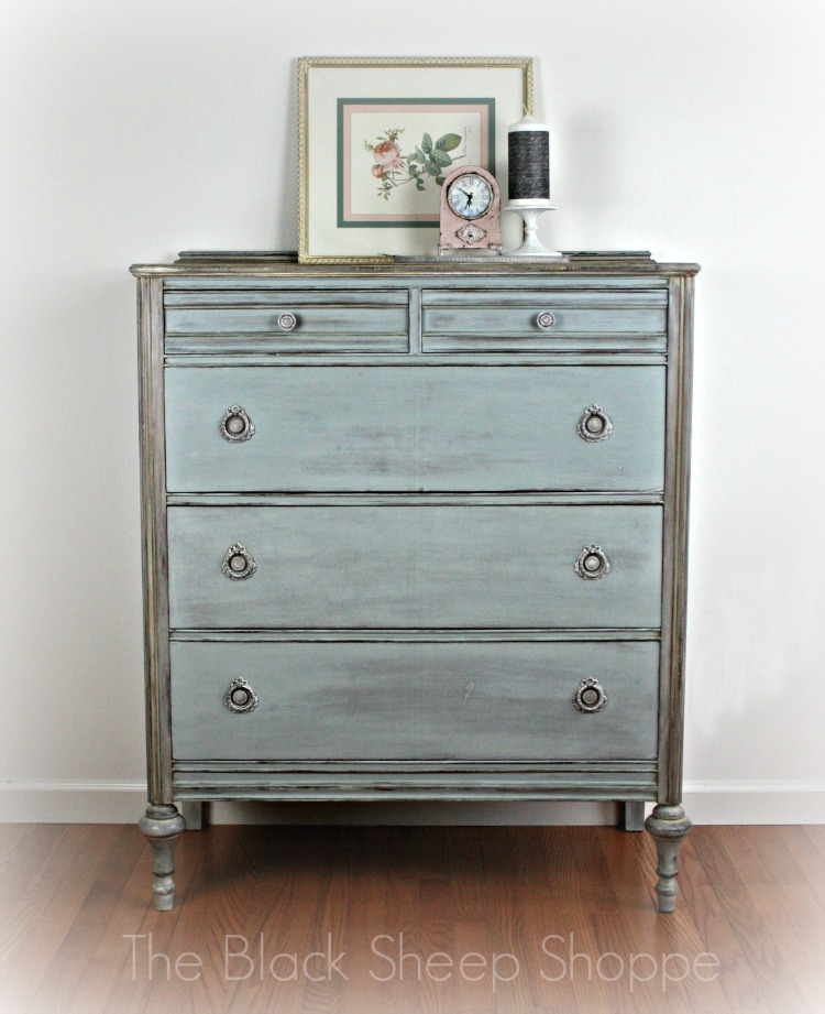 Vintage chest of drawers painted in a custom mix of Duck Egg Blue and Paris Grey (Annie Sloan Chalk Paint).