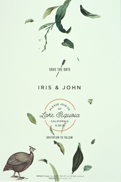 Mint green NEENAH Cotton Paper wedding save the date
