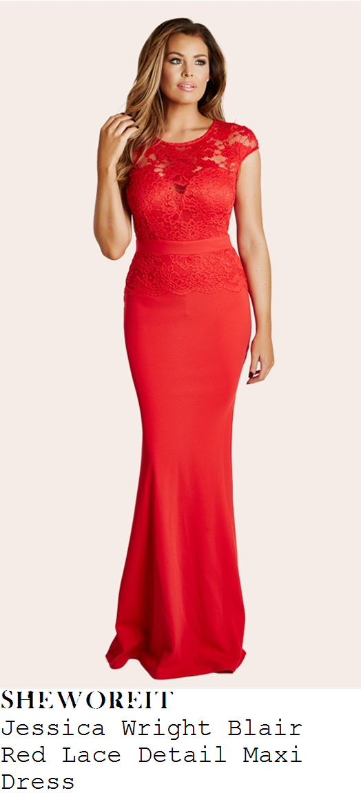 jessica-wright-bright-red-cap-sleeve-floral-lace-overlay-flared-hem-maxi-dress-gown