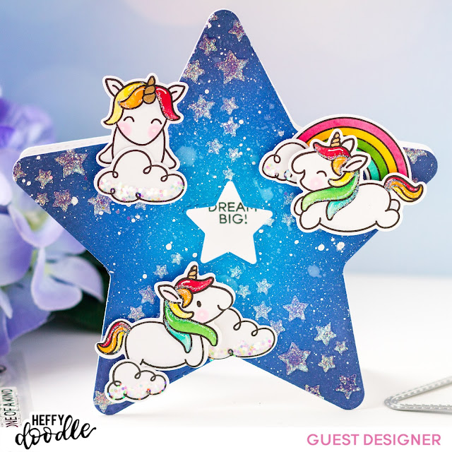 Guest Designer,Heffy Doodle Stamps,Star Shaped,rainbow, galaxy, Card, Fluffy Puffy Unicorns, Card Making, Stamping, Die Cutting, handmade card, ilovedoingallthingscrafty, Stamps, how to,Distress Oxide blending,