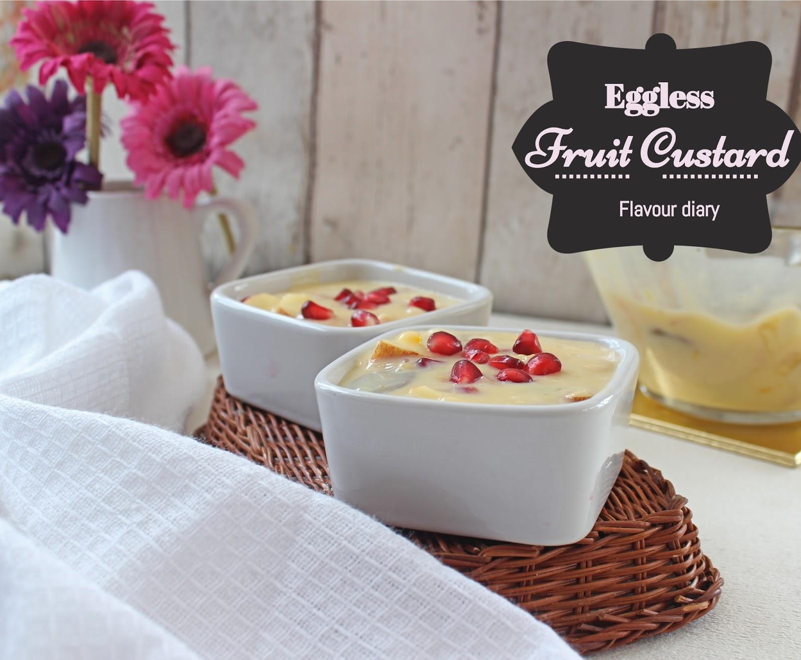 Eggless Indian Fruit Custard recipe