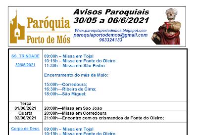 Avisos Paroquiais - 30/05 - 06/06/2021