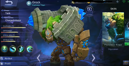 gambar Grock (Foltress Titan) di mobil legend