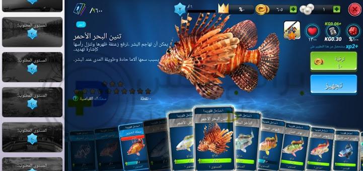 الاسماك الموجودة داخل لعبة صيد السمك
