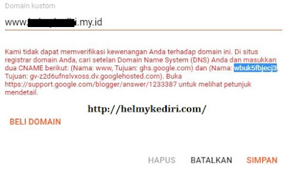 setting domain ke blogger