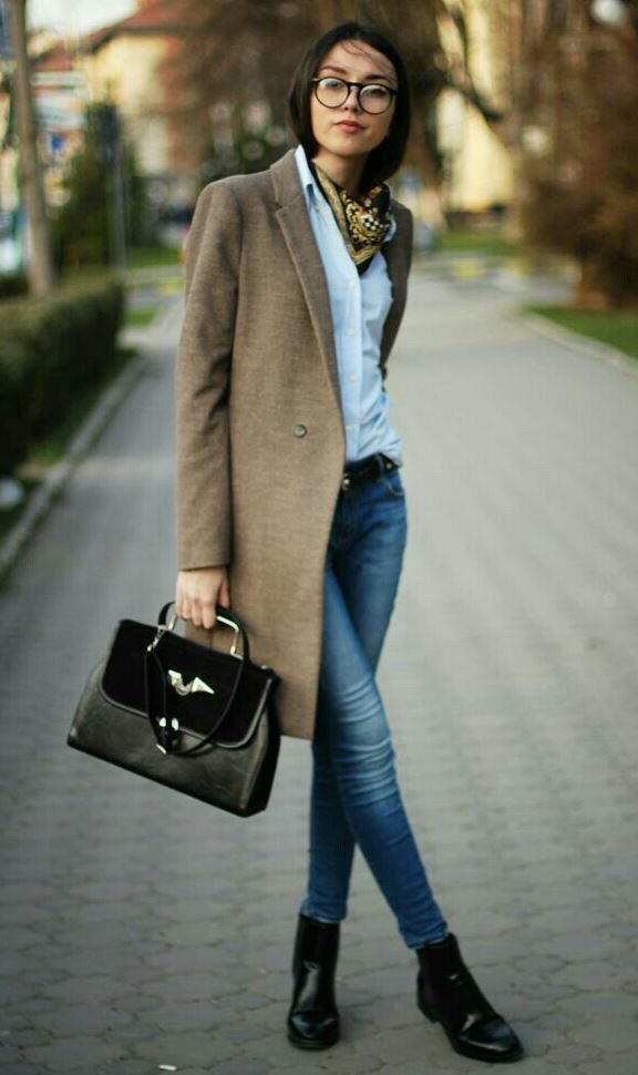 cool office outfit idea / scarf + white shirt + brown coat + skinny jeans + boots + bag