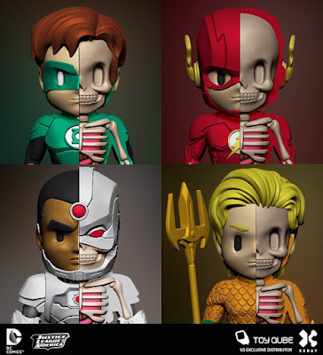 DC Comics XXRAY Dissection Series 2 Vinyl Figures by Jason Freeny & Mighty Jaxx - Green Lantern, The Flash, Aquaman & Cyborg