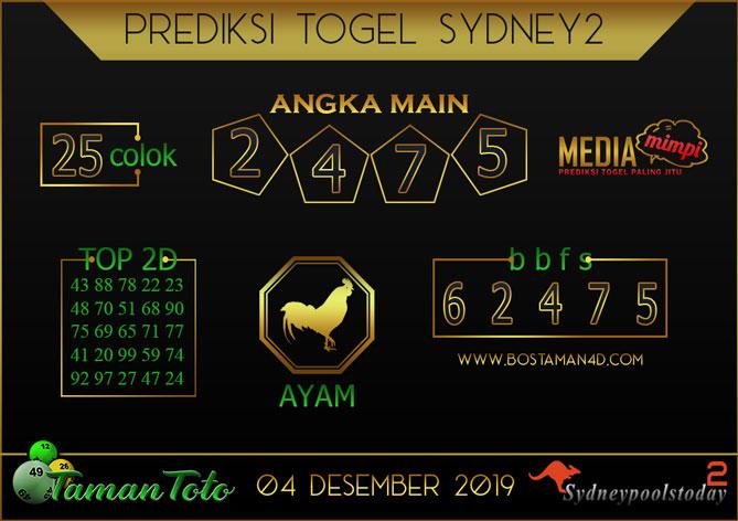 Prediksi Togel SYDNEY 2 TAMAN TOTO 04 DESEMBER 2019