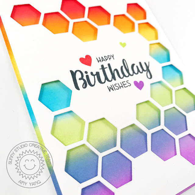 Sunny Studio Stamps: Quilted Hexagons Rainbow Ombre Birthday Cards by Amy Yang