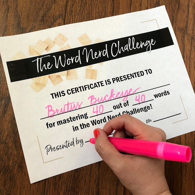 This is a photograph of a Word Nerd certificate for vocabulary instruction.
