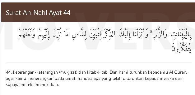Quran Surat An Nahl 44