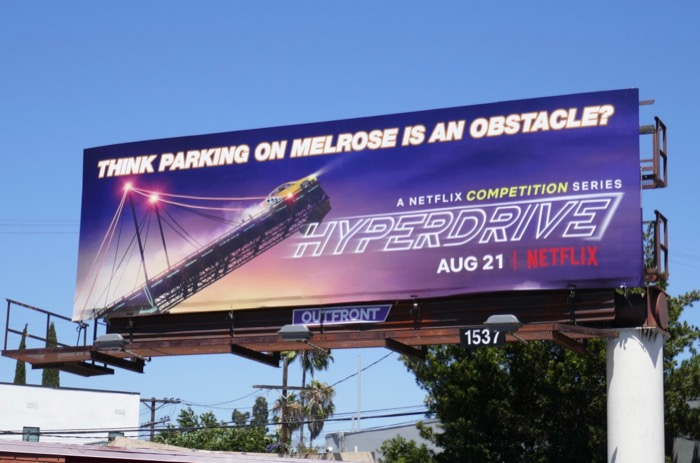 Hyperdrive parking on melrose obstacle billboard