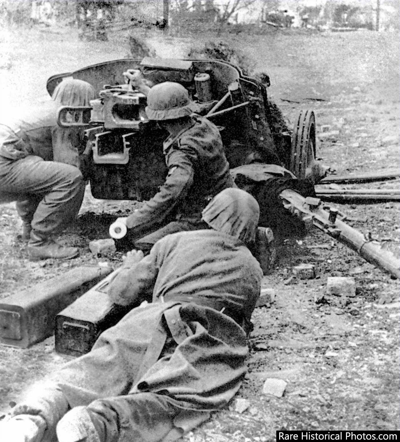 German soldiers at Stalingrad fire a 5 cm Pak 38 anti-tank gun.