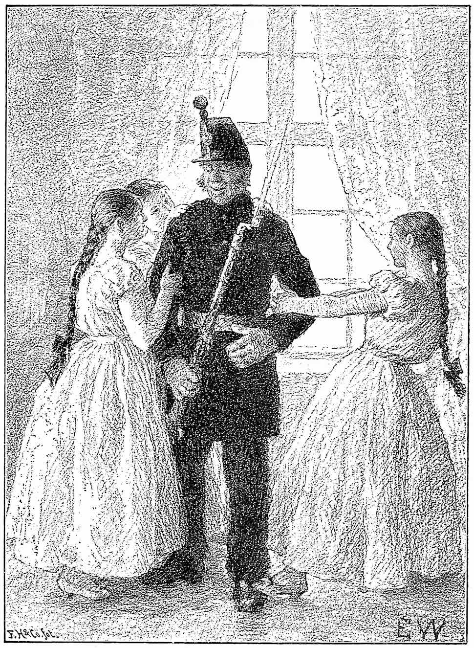 a Peter Christen Asbjørnsen 1909 illustration of women romantically tugging at an unlikely old soldier