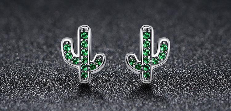 綠鋯石活力仙人掌 925純銀耳環
