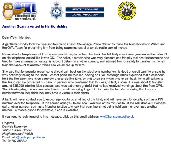 Screen grab of Herts police banking scam message
