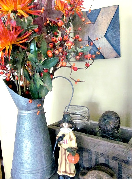 Fall mantel decorations from thrift store finds