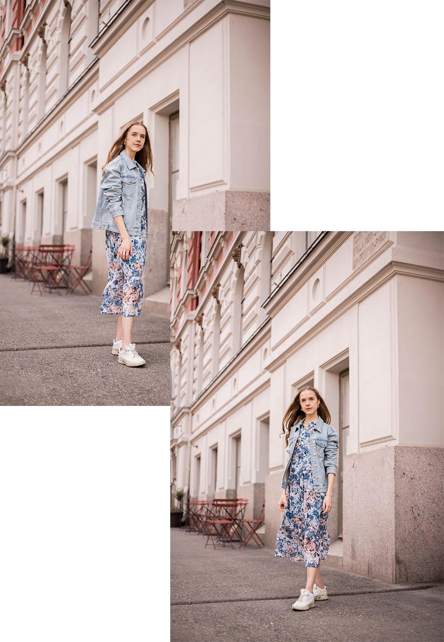 Inspiraatiota kesän pukeutumiseen: kukkamekko ja farkkutakki // Summer outfit inspiration: floral dress and denim jacket