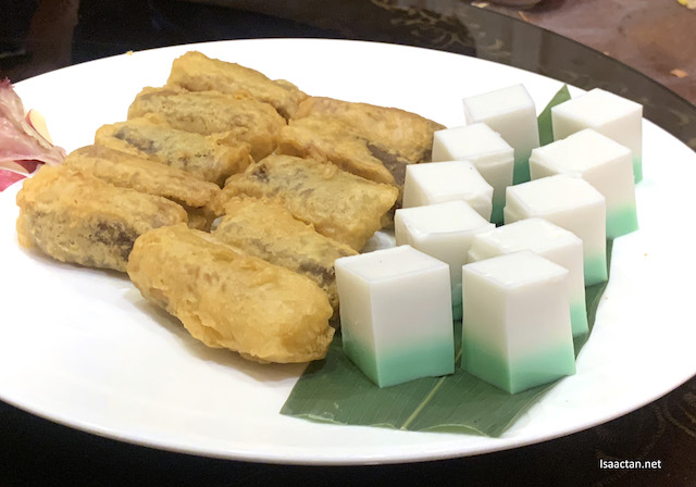 Deep Fried Chinese New Year Cake and Pandan Coconut Milk Jelly