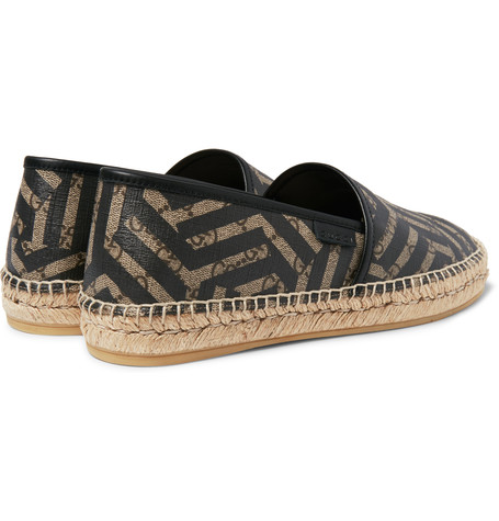 356c609a054 Stunning Slip  Gucci Leather-Trimmed Coated Canvas Espadrilles ...