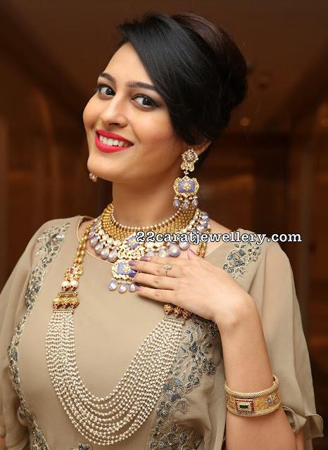 Swetha Jadhav Pearls haram Meena Work Choker