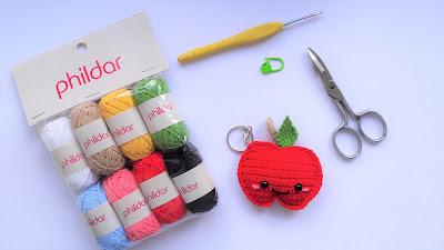 pomme , porte-clés , porte-clef , phildar , crochet