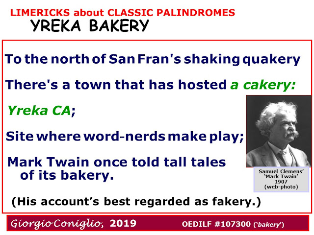 limerick; wordplay; palindrome; Yreka; California; Mark Twain; Giorgio Coniglio