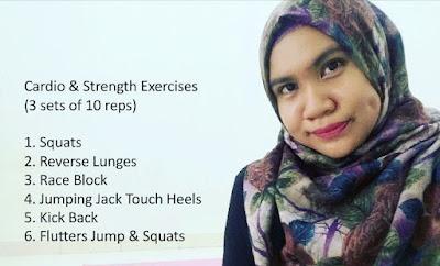 Fitness, Flatters Jump & Squats, Jumping Jack Touch Heels, Kick Back, Race Block, Reverse Lunges, senaman, Senaman mencantikkan bahagian punggung, Squats, workout,
