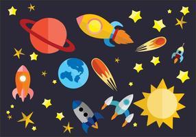 Imagen espacial con dibujos de naves espaciales, estrellas y astros. Que es el tiempo