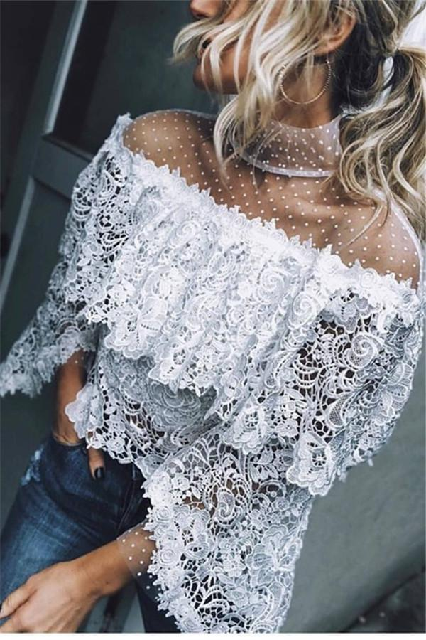 Autumn And Winter Fashion Sexy Lace Blouses - $33.95