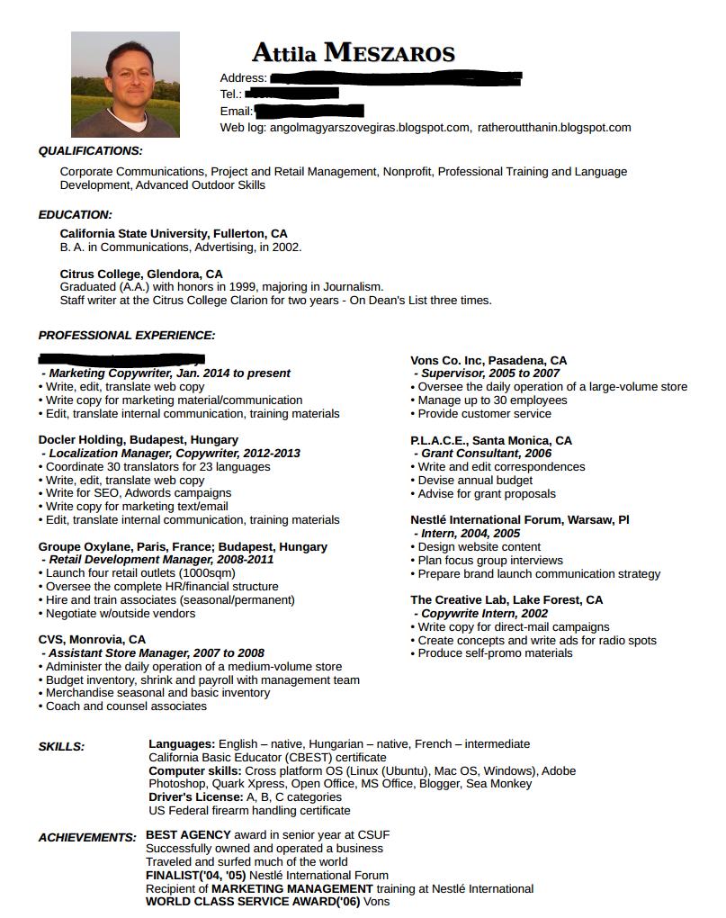 önéletrajz angolul Szövegírás angolul és magyarul: Resume: 6 Másodperces USA Önéletrajz önéletrajz angolul