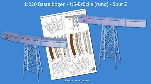 """Kartonmodell / Cardboard model 1:220 US-Brücke"""" Bastelbogen Spur Z"""