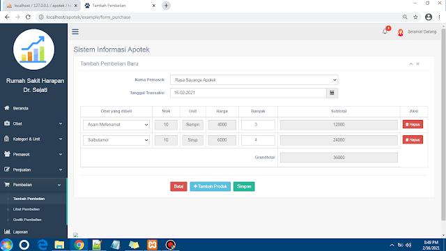 Source Code Sistem Informasi Apotek Berbasis Web CodeIgniter