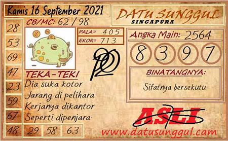 Prediksi Datu Sunggul SGP Kamis 16 September 2021