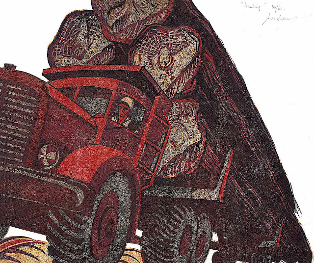 a Sybil Andrews print of a large truck hauling cut tree logs, from a worms-eye view